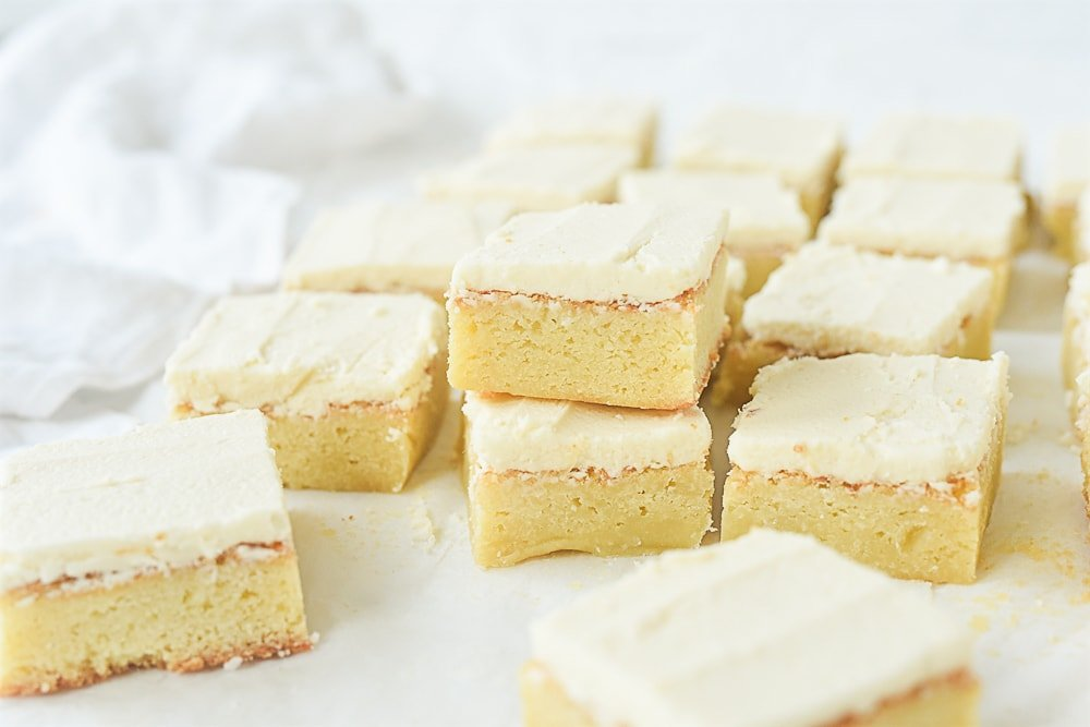 white chocolate brownies cut in squares