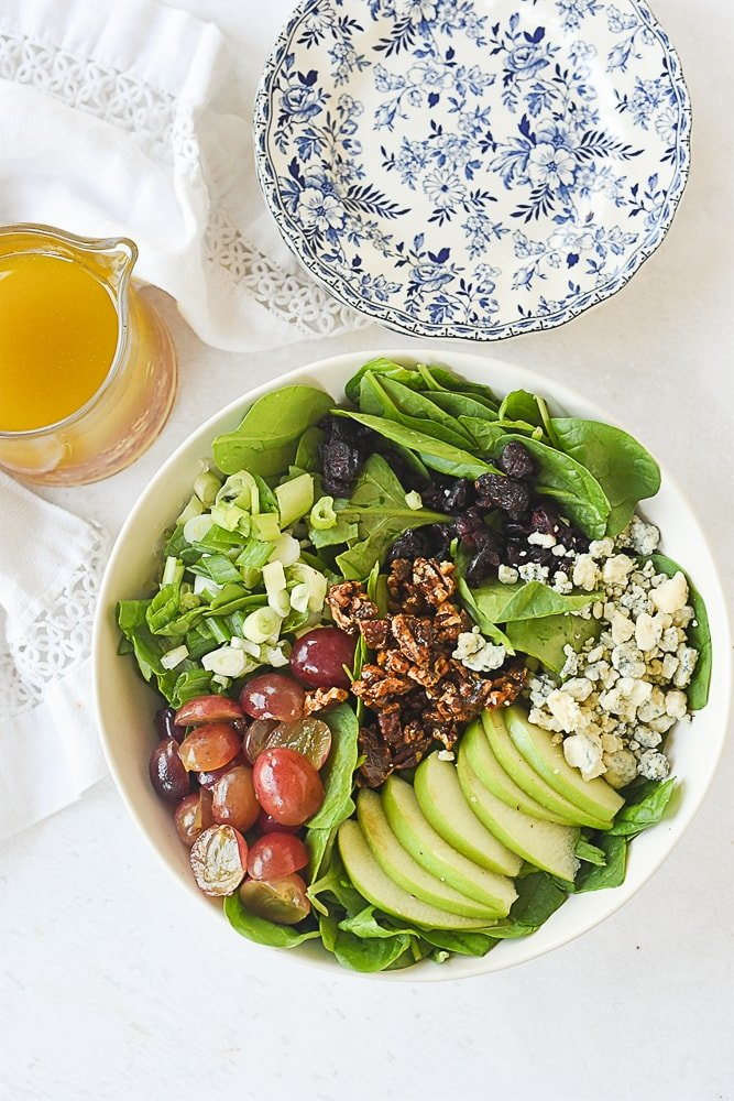 overhead shot of spinach salad