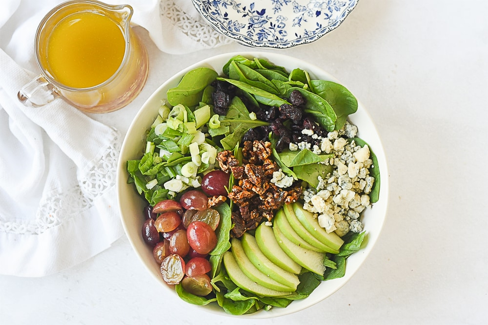 overhead shot of winter spinach salad