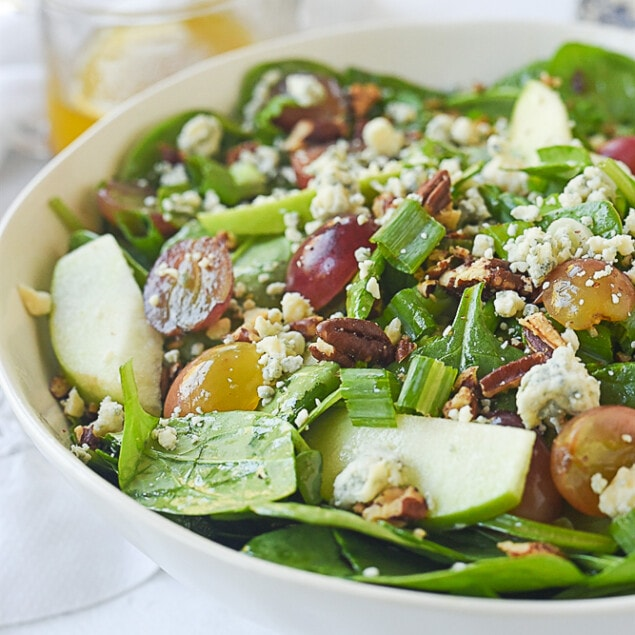 bowl of winter spinach salad