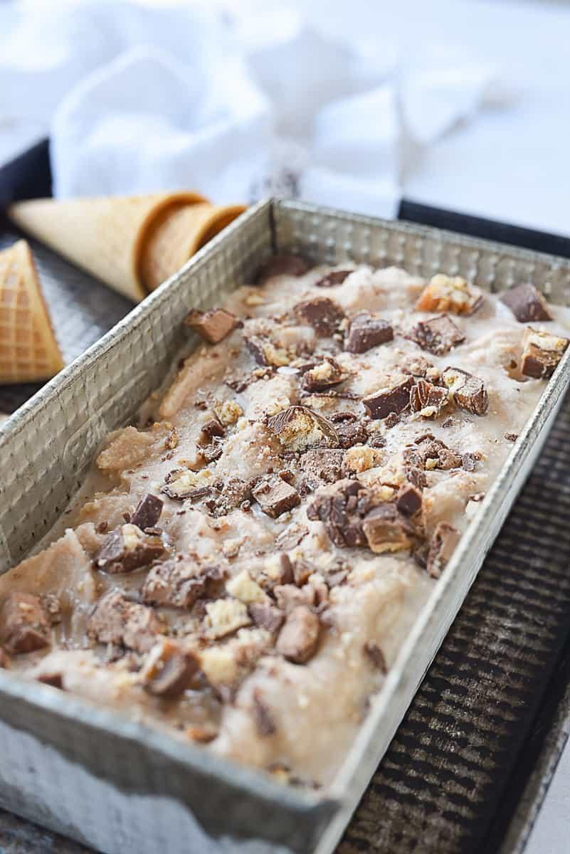 pan of candy bar ice cream