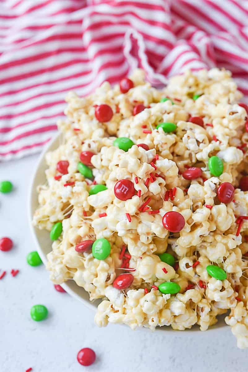 bowl of christmas popcorn
