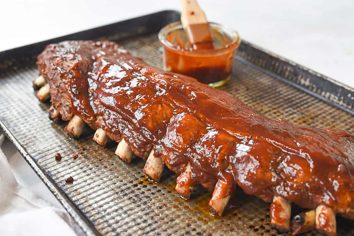 ribs with bbq  sauce on them
