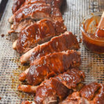 rack of bbq ribs cooked in crock pot