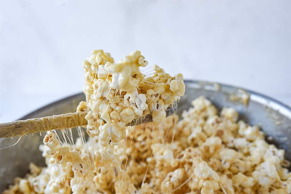 spoon full of marshmallow popcorn