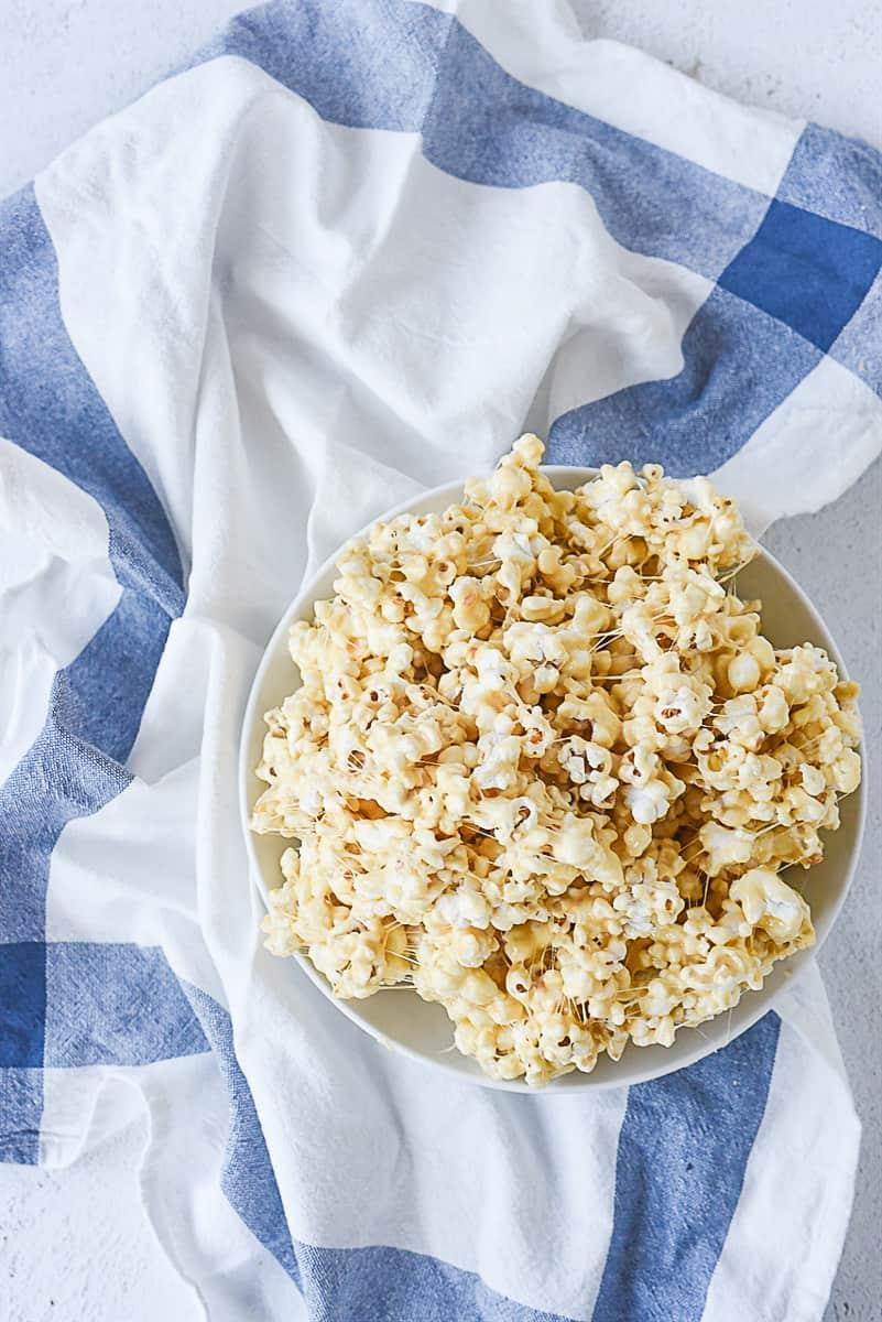 overhead shot of marshmallow popcorn