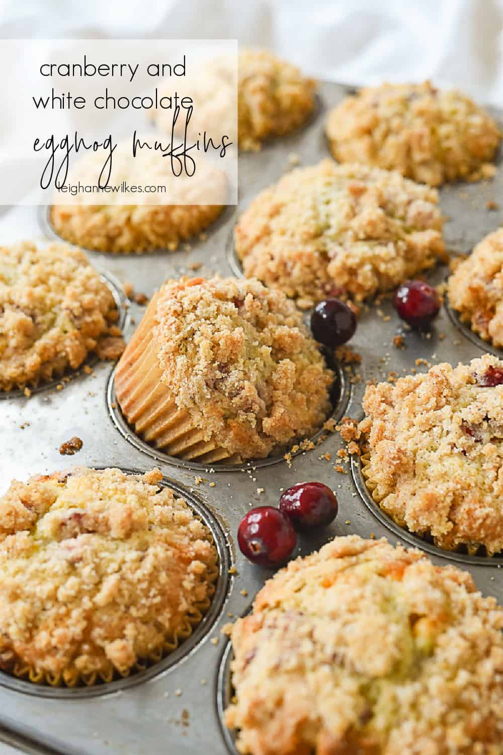 muffin tin full of eggnog muffins