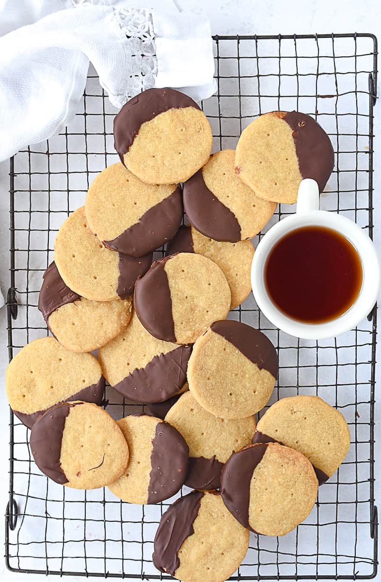 pile of chocolate dipped shortbread