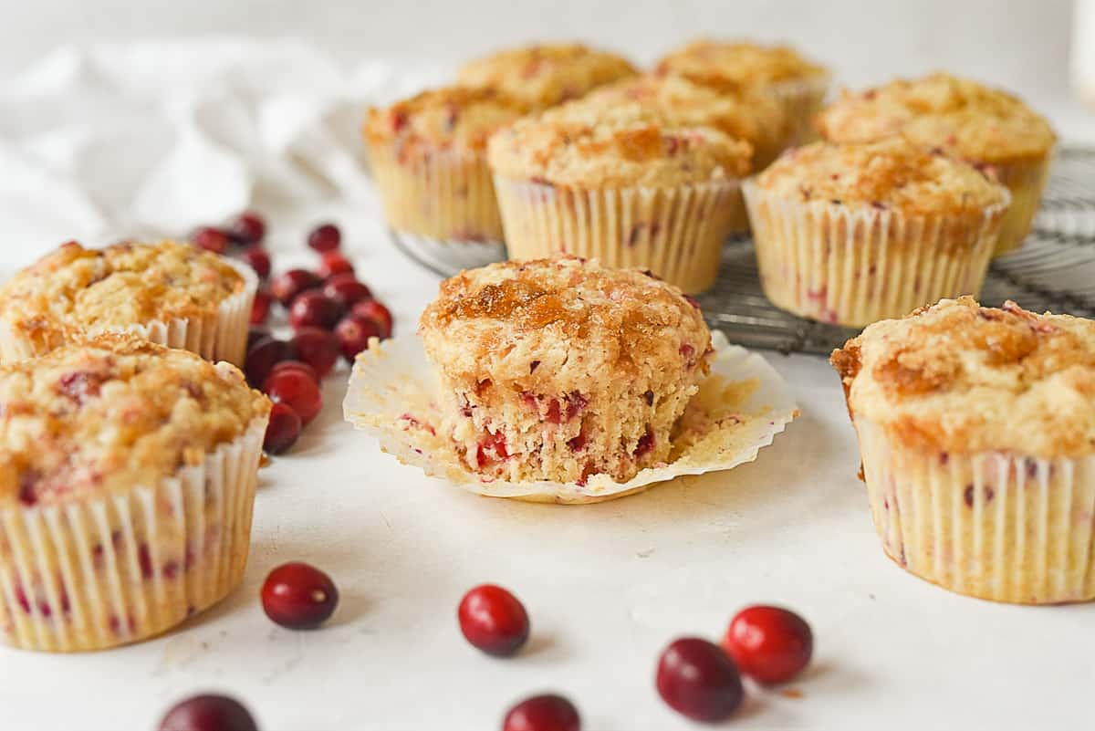 cranberry pineapple muffins on cooling rack
