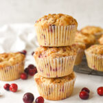 stack of cranberry pineapple muffins