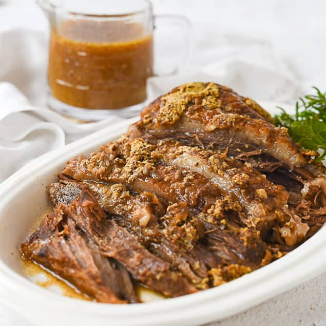 slow cooker beef brisket on a plate