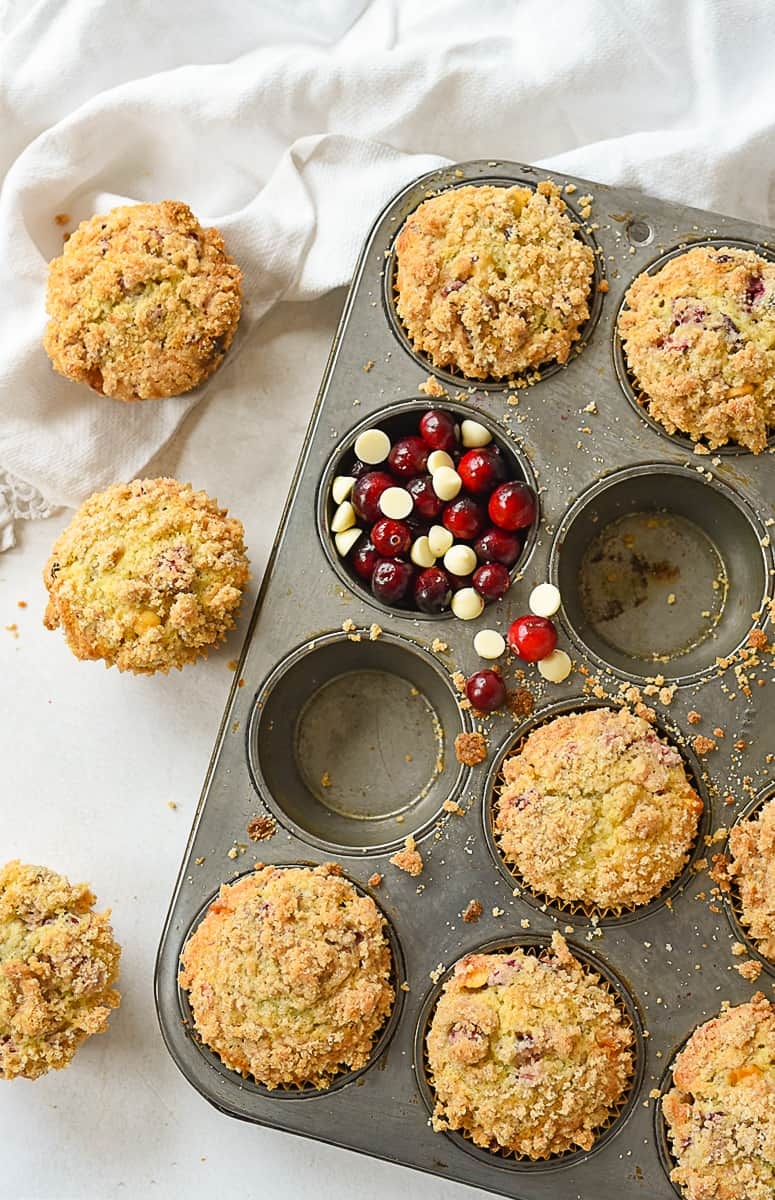overhead view of eggnog muffins