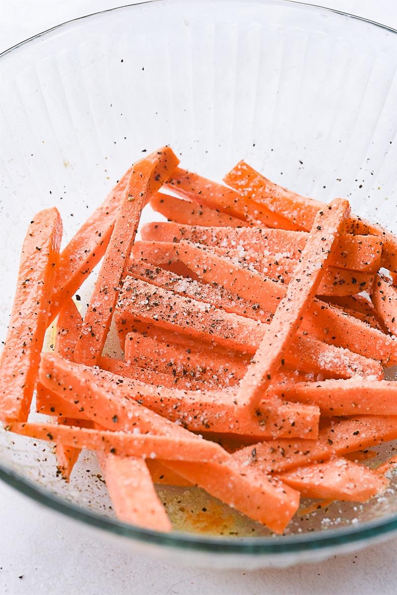 cut sweet potato fries in a bowl.