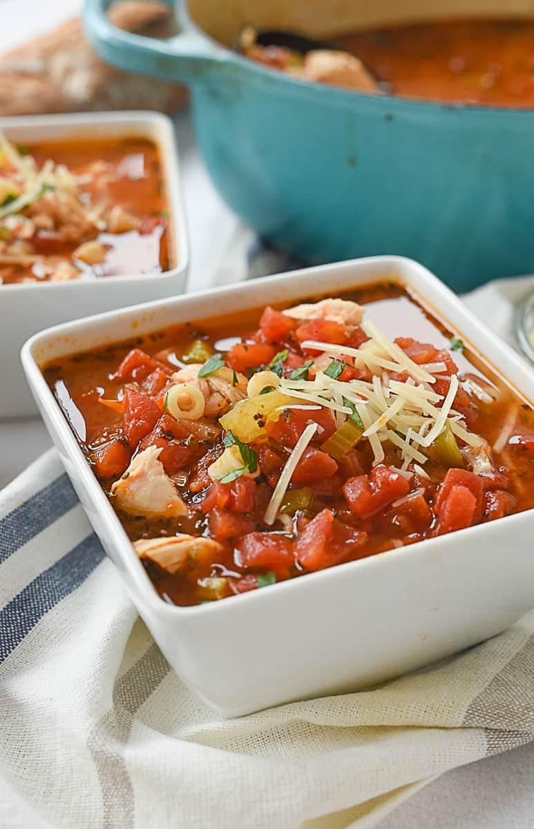 closeup of bowl of soup