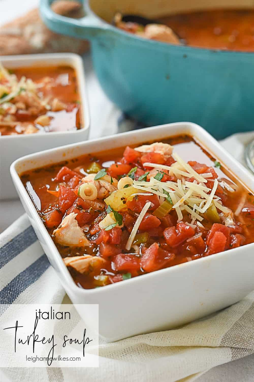 a bowl of turkey soup
