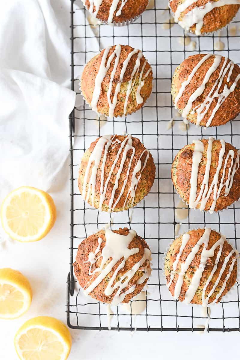 overhead shot of lemon poppy seed muffins
