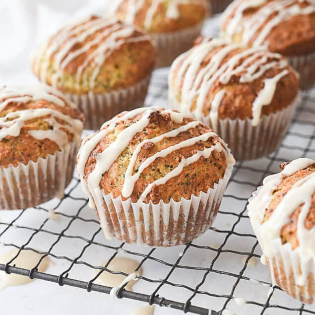 rows of lemon poppy seed muffins