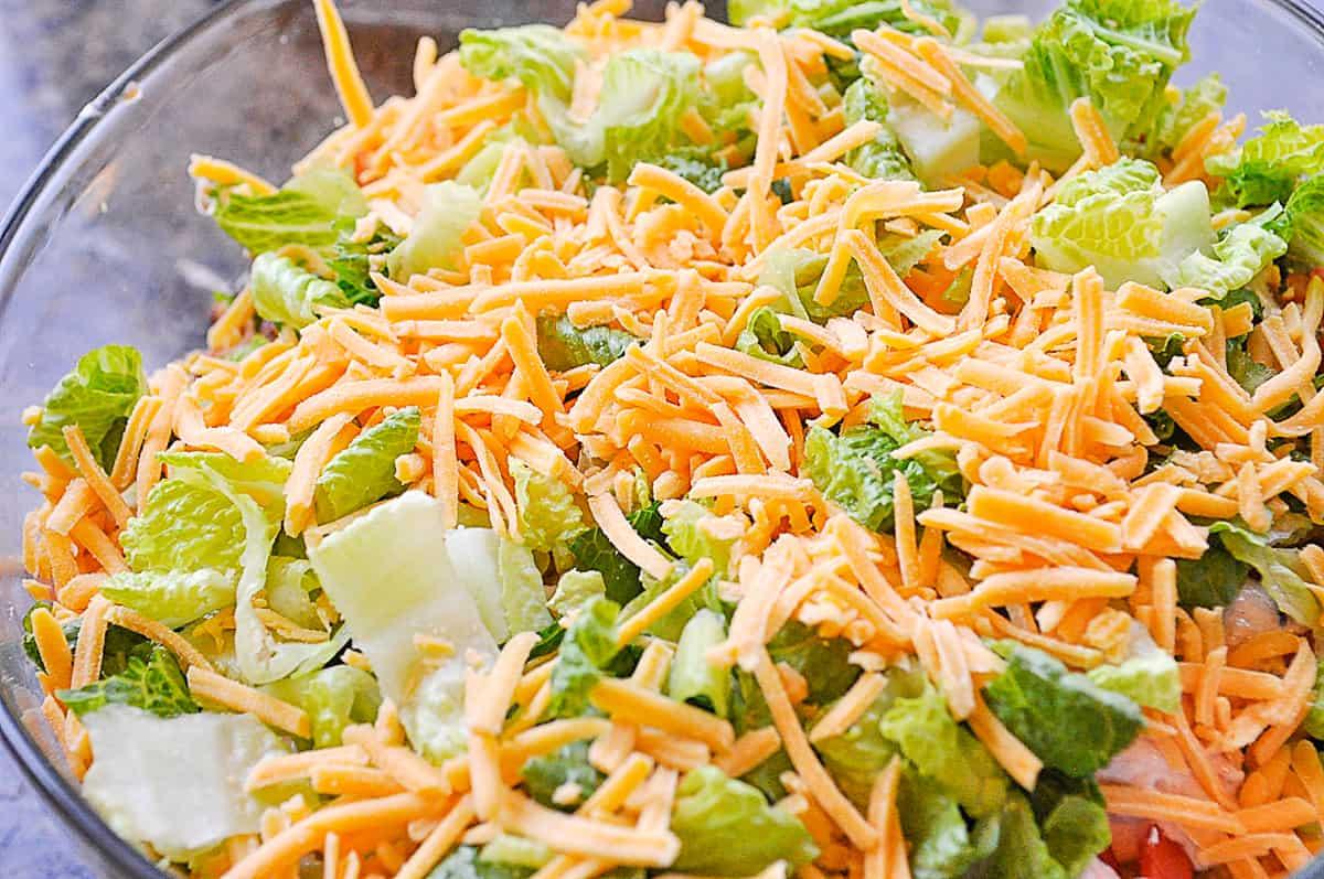 top layer of cornbread salad