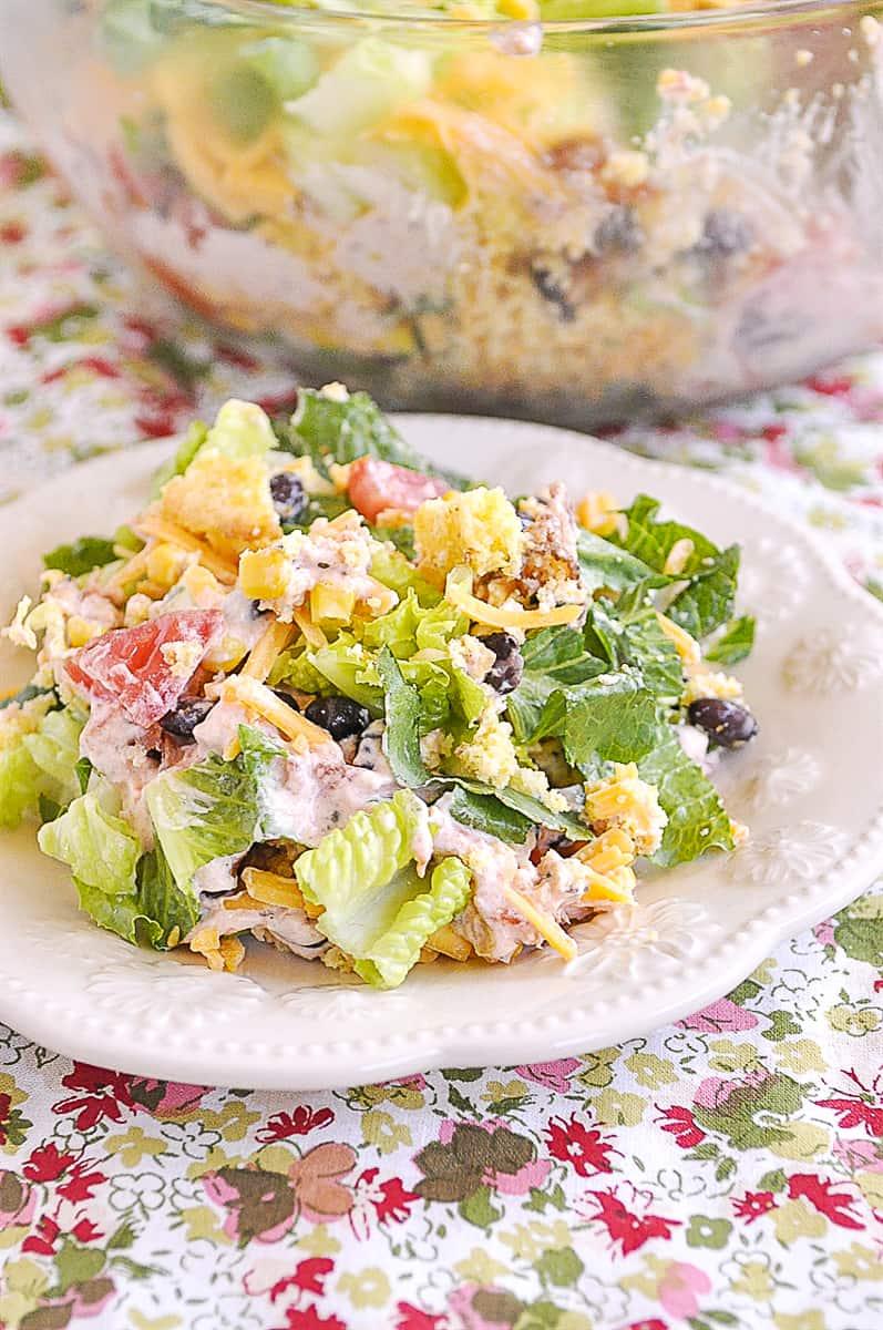 plate of mexican cornbread salad
