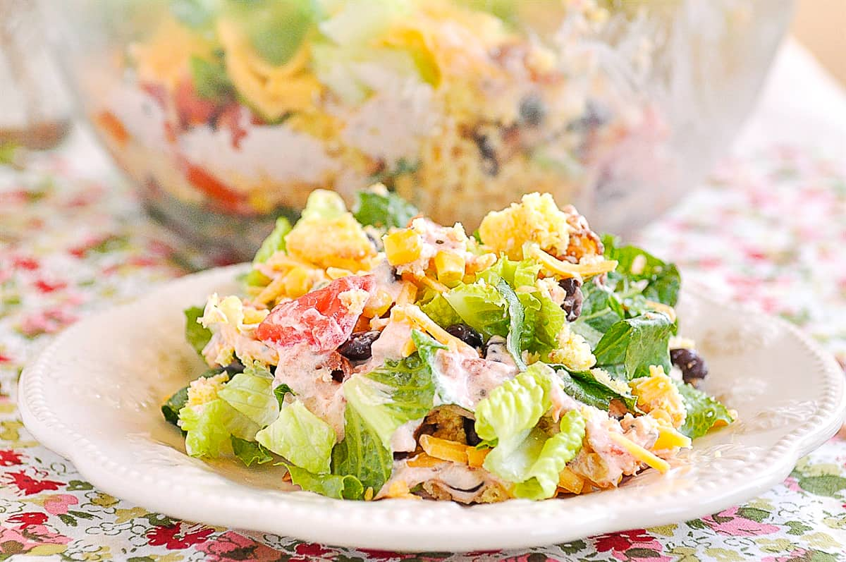 cornbread salad on a plate