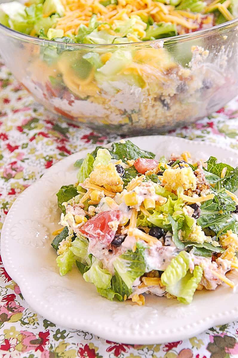 cornbread salad tossed on a plate