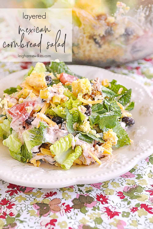 layered cornbread salad on a plate