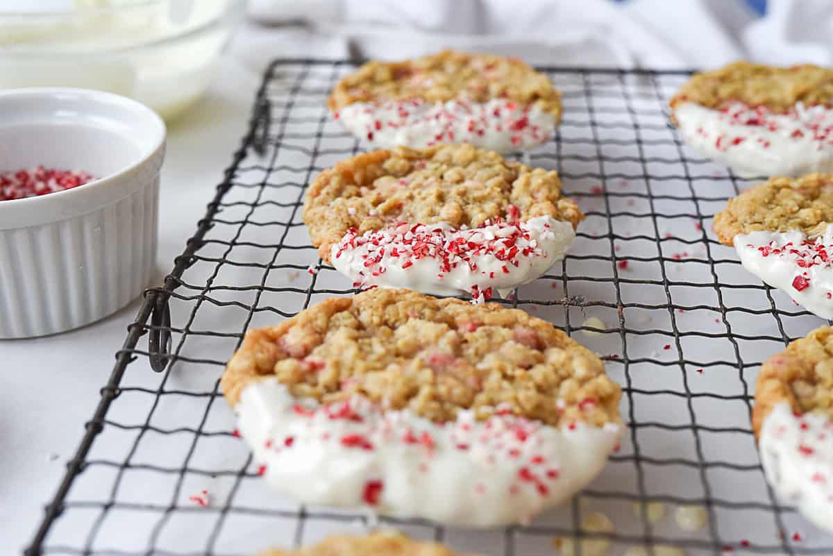 peppermint oatmeal cookies with candy cane