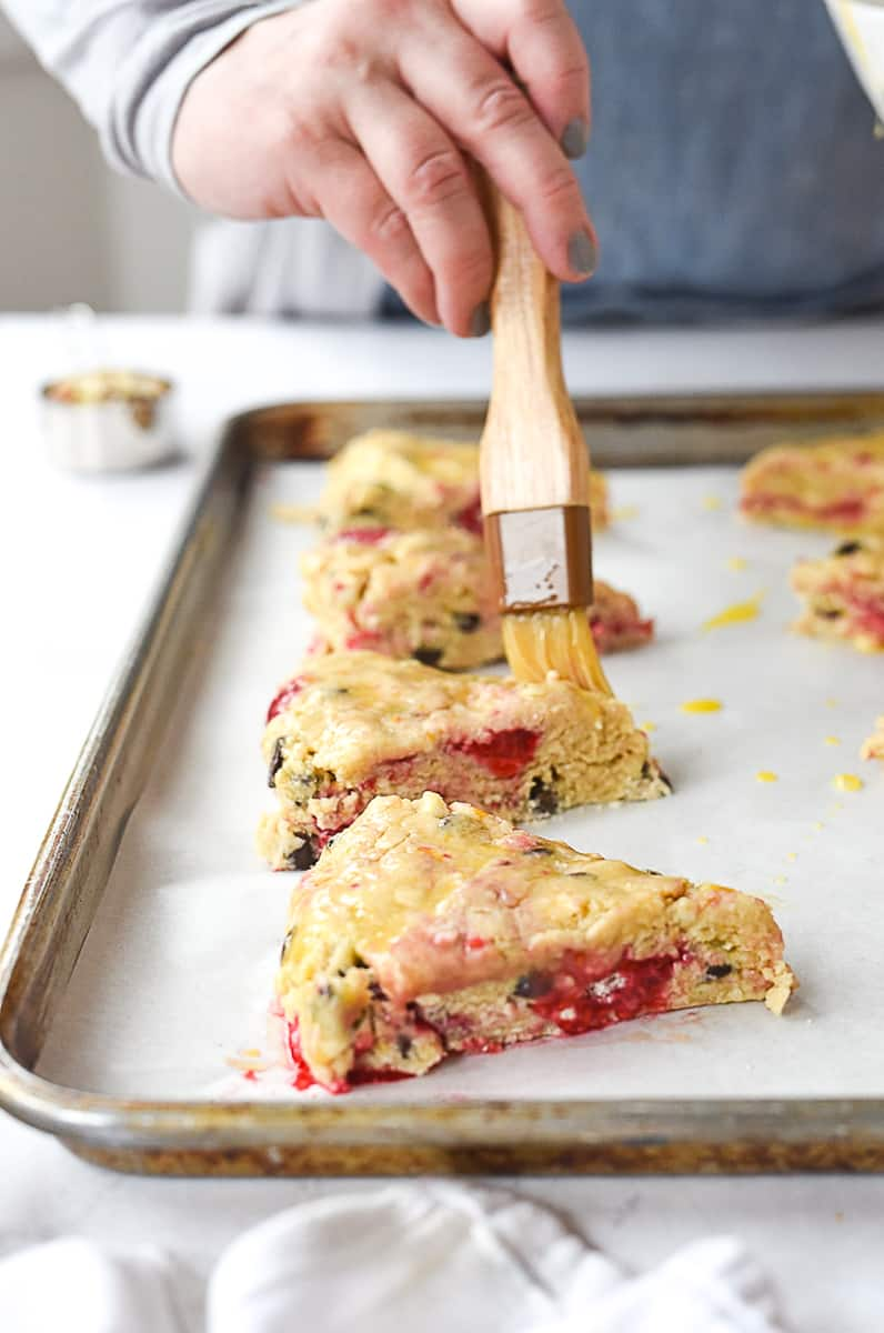brushing scones with egg