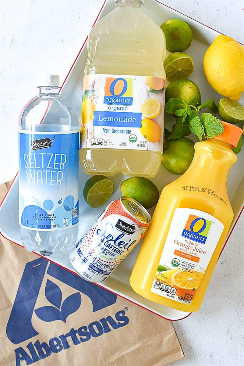 ingredients for orange lemonade