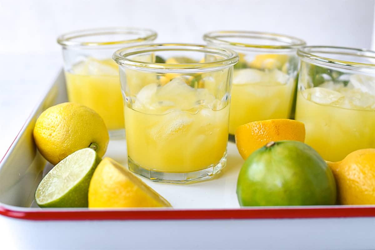 glasses half full of lemonade