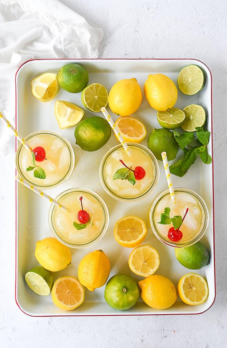 overhead shot of sparkling orange lemonade
