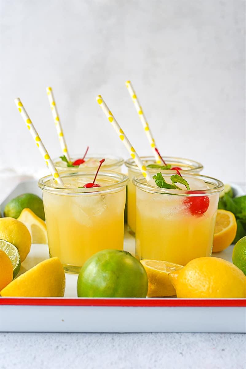 glasses of lemonade on a tray