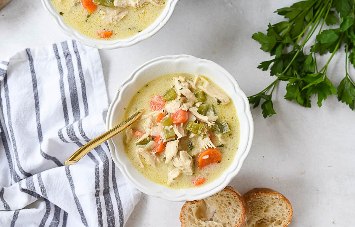 bowl of turkey bisque soup