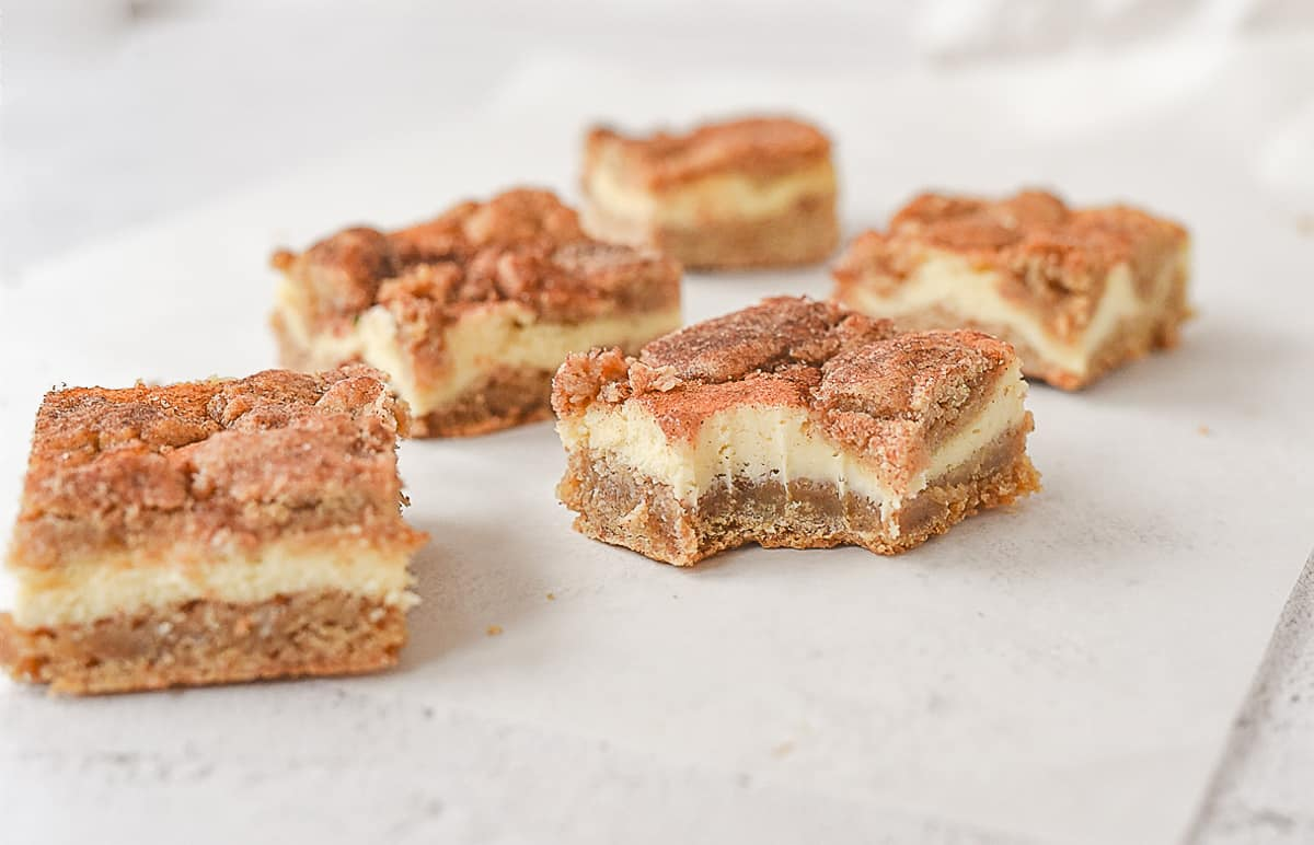 snickerdoodle blondie with a bite out of it