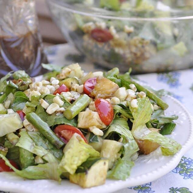 plate of grilled vegetable salad