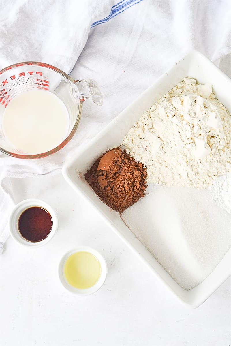 ingredients  for hot fudge sundae cake