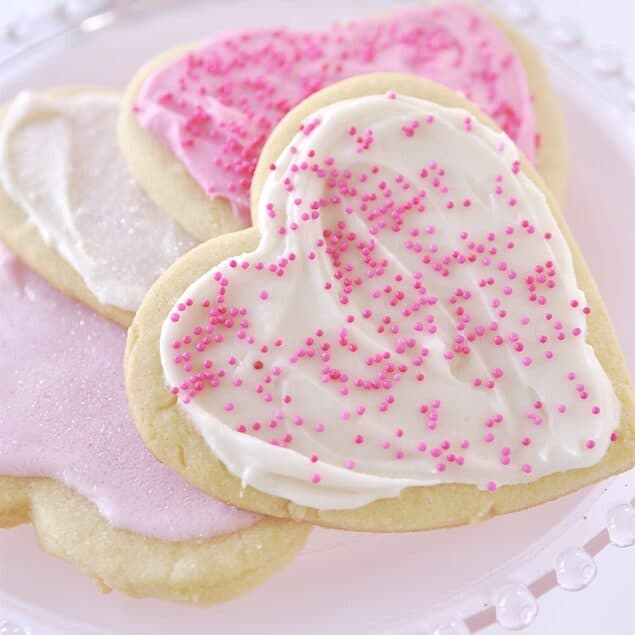 heart shaped cookies on a plate