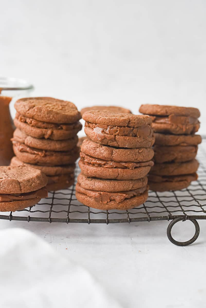 stacks of chocolate sandwich cookies