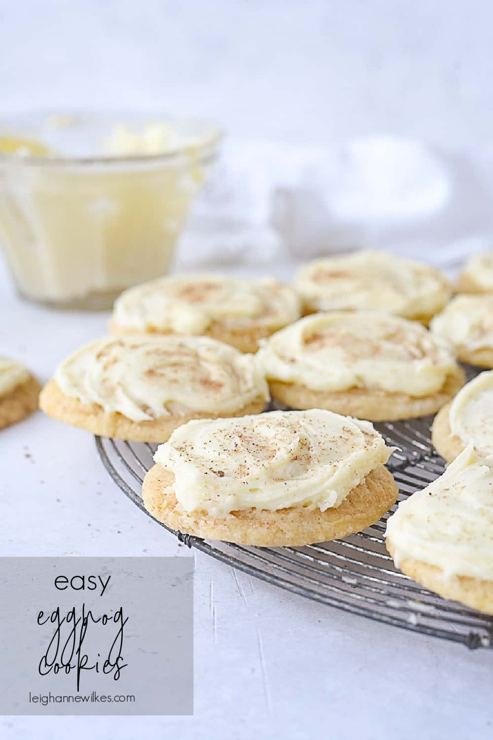 cooling rack with eggnog cookies on it