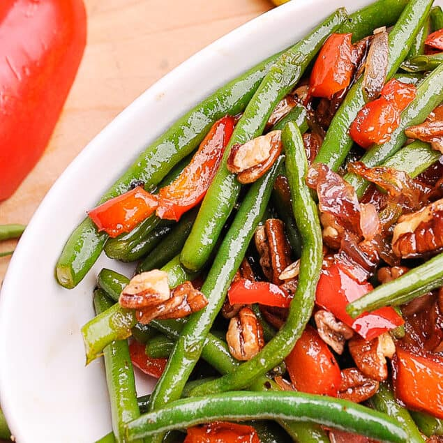 bowl of green beans and peppers
