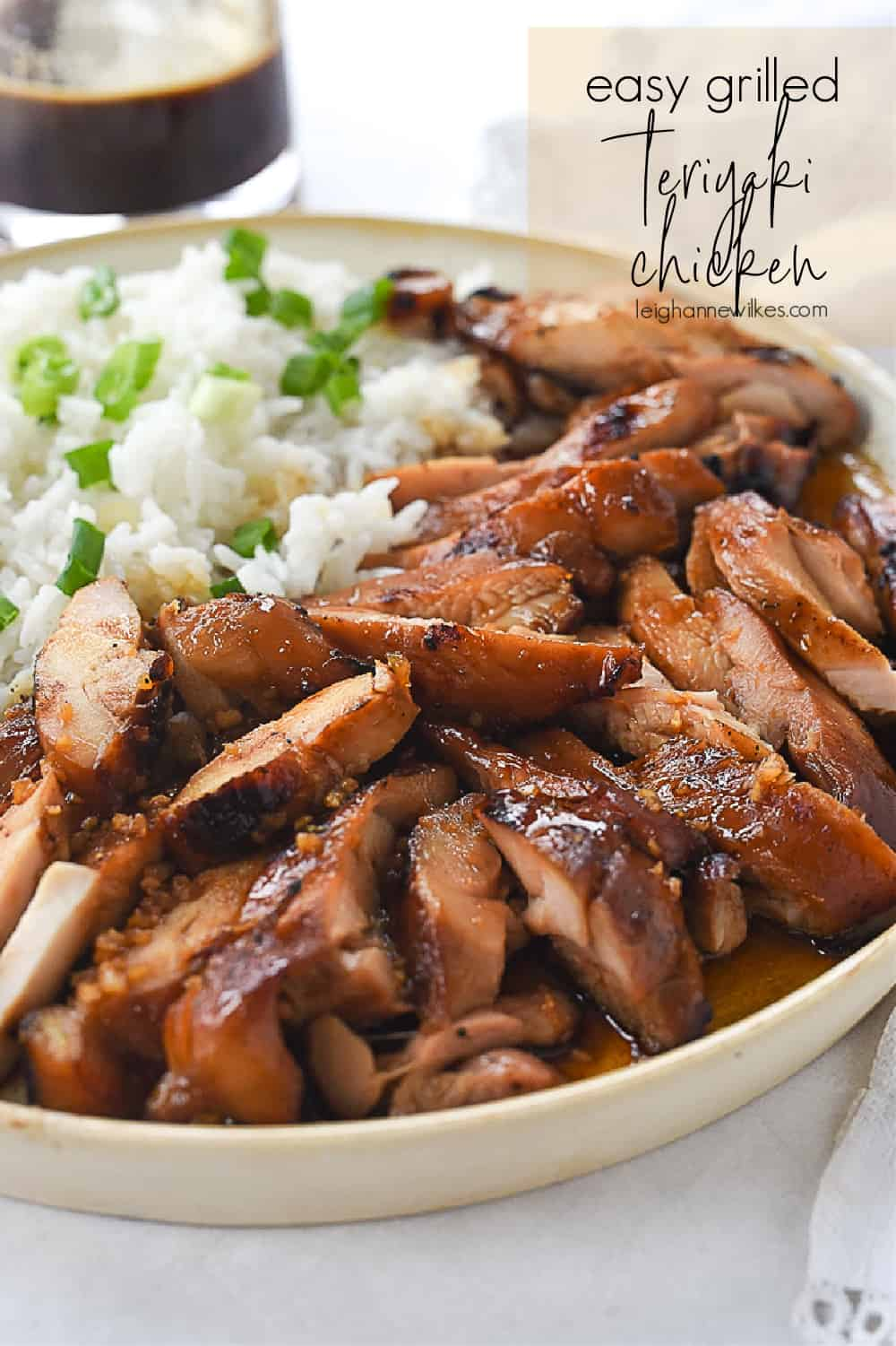 plate of grilled teriyaki chicken and rice
