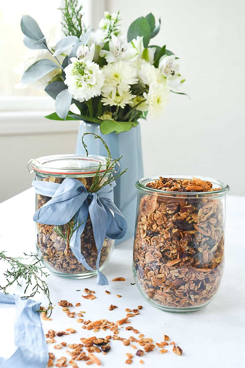bouquet of flowers and jars of granola