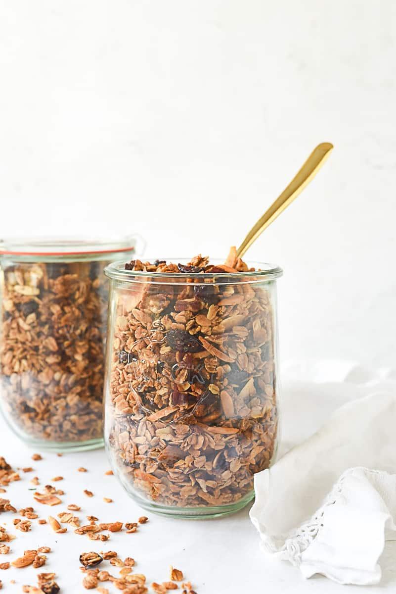 healthy granola in a jar