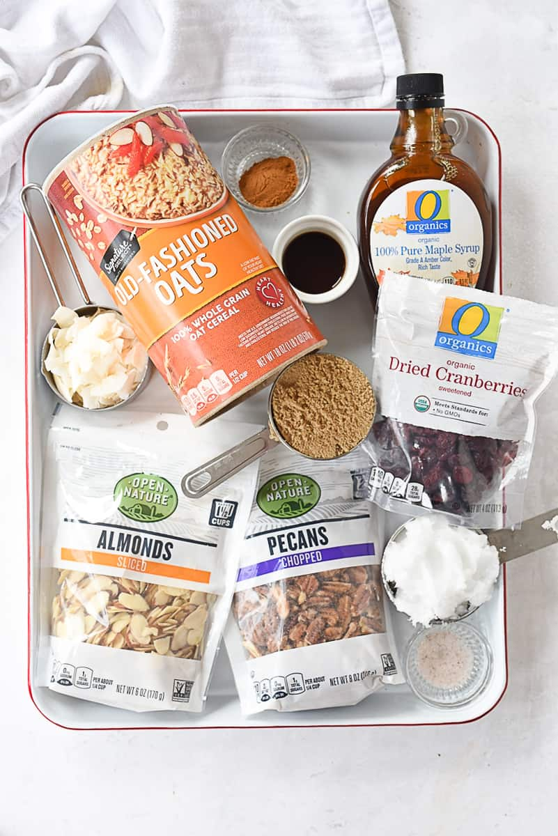 ingredients for healthy granola