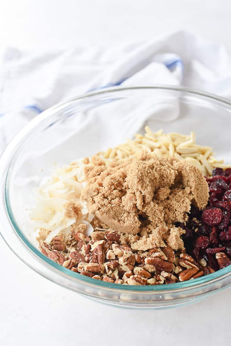 bowl of granola ingredients