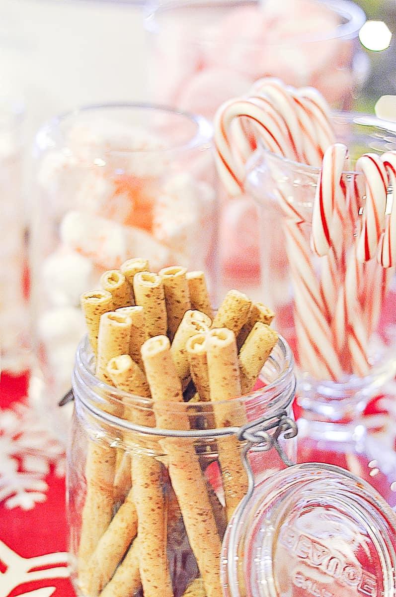 pirouette cookies in a jar