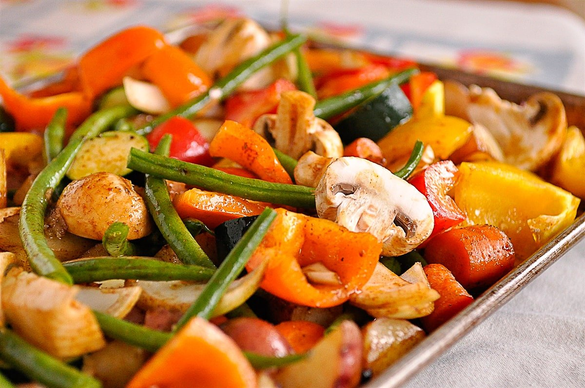 vegetables on a baking sheet
