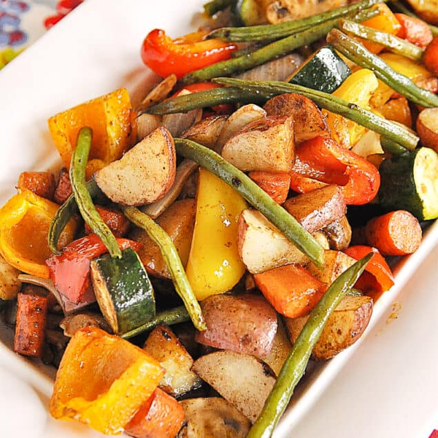 bowl of roasted winter vegetables