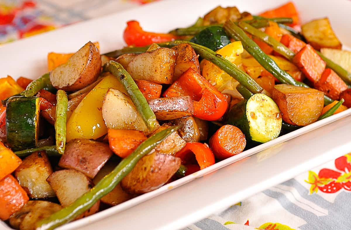 white bowl of roasted vegetables