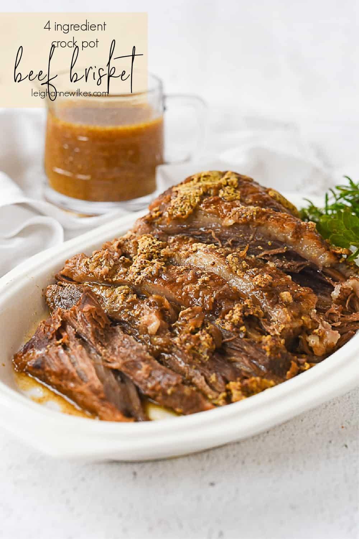 platter of slow cooker brisket